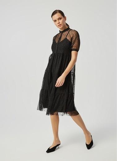 Monamoda Flok Baskılı Tül Gömlek Elbise Siyah